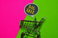 Big Sale Text and Shopping cart. stock photos