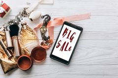 Big sale text sign luxury jewelry perfume and watch and makeup a Royalty Free Stock Photos