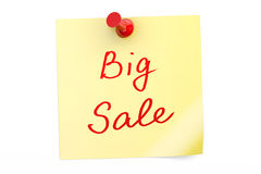 Big Sale text on a sticky note. 3D rendering Royalty Free Stock Photography