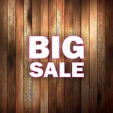 Big sale text on wooden. Stock Image
