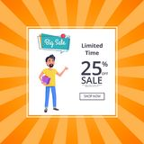 Big Sale Unlimited Time 25 Percent Discount Poster Stock Image