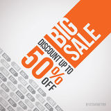 Big sale. Up to 50% off. Template design Royalty Free Stock Photography