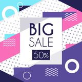 Big sale up to 50 percent off banner template design, seasonal discount, advertising element vector Illustration. Web design Vector Illustration