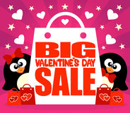 Big Sale Valentine's day card with penguins Royalty Free Stock Photos