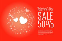 Big sale of Valentine`s Day. Big sale  of Valentine`s Day. Creative flyer with text happy valentine`s day with love, gift icons Royalty Free Stock Image