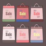Big sale vector bags set. Retro style flat icons with shadows. Eps10 Stock Photos