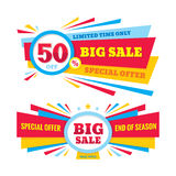 Big sale vector banner - discount 50% off. Special offer creative design layout. Limited time only! End of season.  Stock Photos