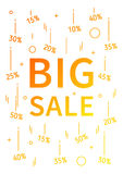 Big Sale vector banner with linear elements. Big Sale decoration poster on white background. Big Sale and discounts from 10 to 50 percent off. Design graphic Royalty Free Stock Photos