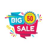 Big sale - vector creative banner illustration. Abstract concept discount up to 50% promotion layout on white background. Special offer sticker in origami vector illustration