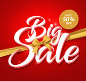 Big Sale Vector Text in a Golden Ribbon and up to 50% off Label Stock Photo