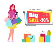 Big Sale Voucher with Woman and Shopping Bags Royalty Free Stock Image