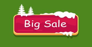 Big Sale Web Button Covered Snow, Online Shopping. Big sale web button covered with snow, decorated by spruce trees on top, online shopping concept. Website Stock Photo
