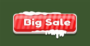 Big Sale Web Button Covered Snow, Online Shopping. Big sale web button covered with snow, online shopping concept. Website label, creative interface sign  on Royalty Free Stock Photos