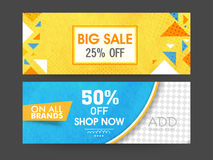 Big Sale web header or banner set. Royalty Free Stock Photos