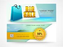 Big sale web header or banner set. Big sale website header or banner set with discount offer and shopping bag Stock Photos