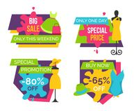 Big Sale Only this Weekend Special Price Labels. Big sale only this weekend one day special price promotion 80 off buy now 65 set of advertisement stickers promo stock illustration