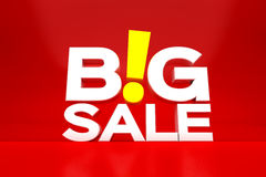 Big sale. In white text graphics with yellow exclamation point illustrated on red Royalty Free Stock Image