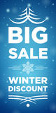 Big Sale winter discount and Snowflake in the middle Stock Images