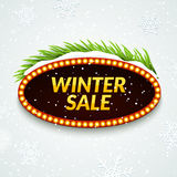 Big sale winter sale sign design template. Xmas season clearance discount. Market promotion advertising with fir. Branches Stock Photo