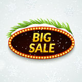 Big sale winter sale sign design template. Xmas season clearance discount. Market promotion advertising with fir branches Stock Images