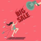 Big sale woman girl female shoes shout speaker megaphone Royalty Free Stock Images
