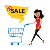 Big sale. Woman shopping cart with big sale label. Cartoon Vector Illustration Royalty Free Stock Image