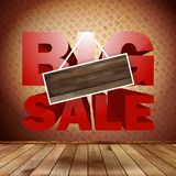 Big sale with wood background for copy space. Stock Photo