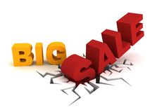 Big Sale Word crack hole. 3d Royalty Free Stock Image
