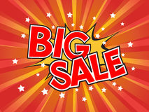 Big Sale, wording in comic speech bubble on burst background Royalty Free Stock Photos