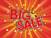 Big Sale, wording in comic speech bubble on burst background Royalty Free Stock Photos
