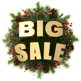 Big sale words with christmas wreath Royalty Free Stock Image