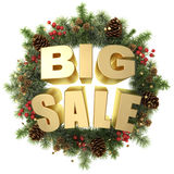 Big sale words with christmas wreath. Royalty Free Stock Photos