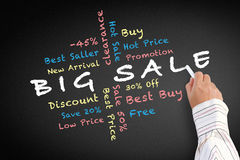 Big sale written on blackboard Royalty Free Stock Images
