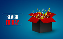 Big sale of the year. black Friday. Black-and-red box. Flying yellow and white ribbons. Big Bang.  illustration Royalty Free Stock Photos