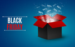 Big sale of the year. black Friday. Black and red magic box. Flying interest and glare.  illustration Royalty Free Stock Photography