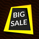Big sale yellow banner on brown background.  Vector background with colorful design elements. Stock Photos