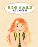 Big sales in a clothing store Vector Stock Photography