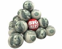 Big Sales Increase Selling Customers Ball Pyramid. 3d Illustration Stock Photography