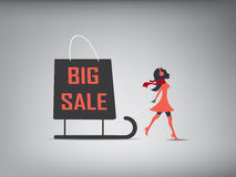 Big sales promotional design. Of a woman pulling a huge shopping bag. Eps 10 vector illustration for promotion, flyers, brochures Royalty Free Stock Image