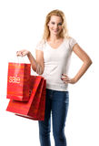 The big sales - Women with Sale Bags Stock Photography