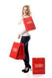The big sales - Women with Sale Bags Royalty Free Stock Photos