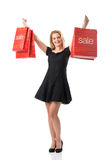 The big sales - Women with Sale Bags Stock Photo
