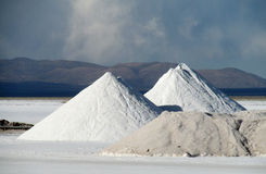 Big salt pile on Salar Uyuni Royalty Free Stock Photos