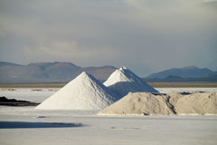 Big salt pile on Salar Uyuni salt lake Stock Images