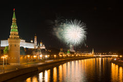 Big a salute over the Kremlin in Moscow Royalty Free Stock Image
