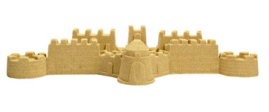 Big Sand Castle Isolated On White Background Stock Photo