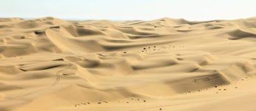 Big sand dunes panorama. Desert or beach sand textured background. Stock Photo