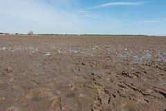 Nordfriesland. Big sandbank at low tide in Sankt Peter-Ording in Nordfriesland, Schleswig-Holstein, Germany royalty free stock images
