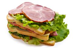 Big sandwich. With meat and vegetables stock photos