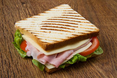 Big sandwich. With ham, cheese, tomatoes and salad on toasted bread Royalty Free Stock Photos